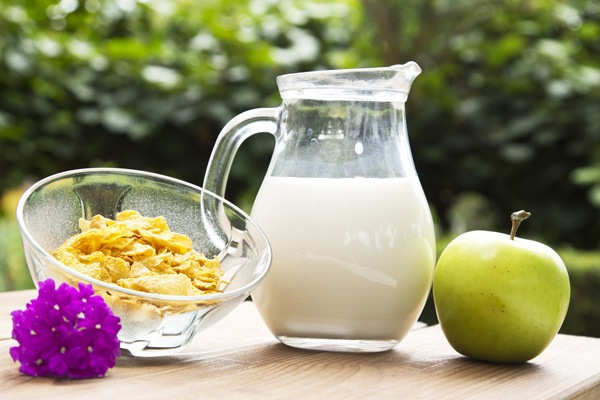Healthy Snacks - Skim milk and apple